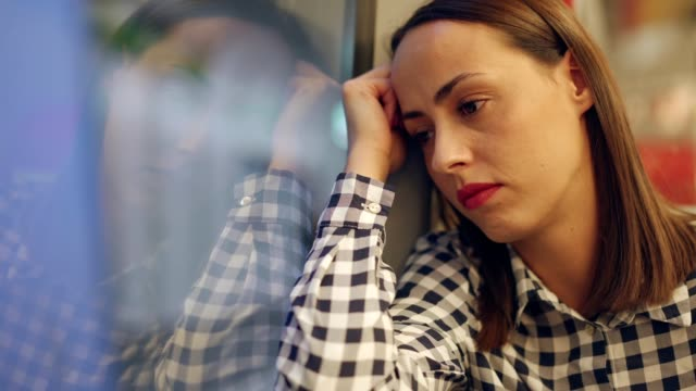 thoughtful woman in the train - nostalgia stock videos & royalty-free footage