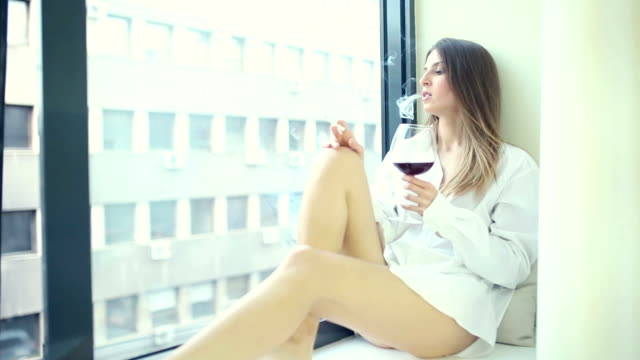 thoughtful woman - cigarette stock videos & royalty-free footage