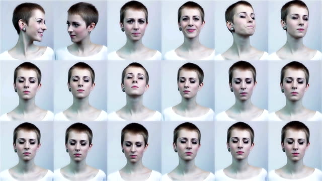 thousand expressions of a woman - multiple image stock videos and b-roll footage