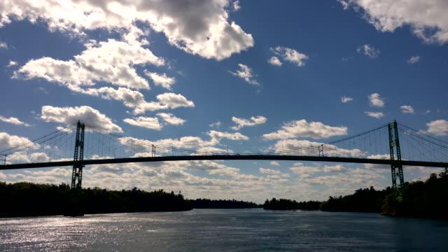 thousand island bridge, saint lawrence river - ontario canada stock videos & royalty-free footage