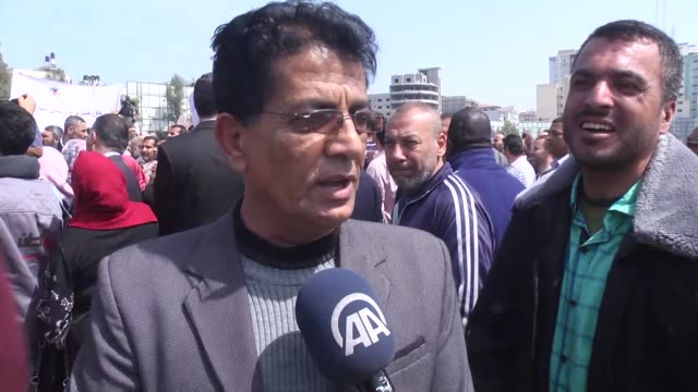 thousand of people attend a demonstration to protestagainst payroll deductions at es-saraya square in gaza city, gaza on april 8, 2017. - employment document stock videos & royalty-free footage