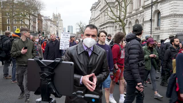 """thousand of people march on march 20, 2021 in london, england. """"world wide rally for freedom"""" protests, with apparent links to the qanon... - weekend activities stock videos & royalty-free footage"""