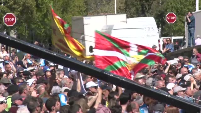 thousands attend a peace rally in bayonne france as basque separatist group eta lays down its arms after 36 years of violence - separatism stock videos & royalty-free footage