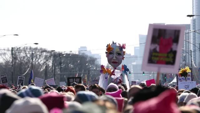 Thousands attend a rally in Grant Park as part of the second annual Women's March in Chicago Illinois USA on January 20 2018 Hundreds of thousands of...