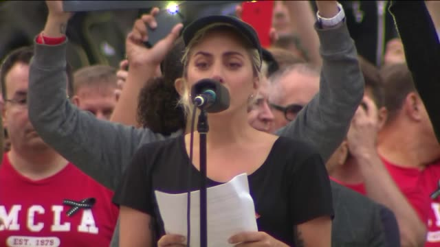 ktla thousands attend a vigil for those killed gay club in orlando florida the vigil was held in downtown los angeles also in attendance was lady gaga - lady gaga stock videos & royalty-free footage