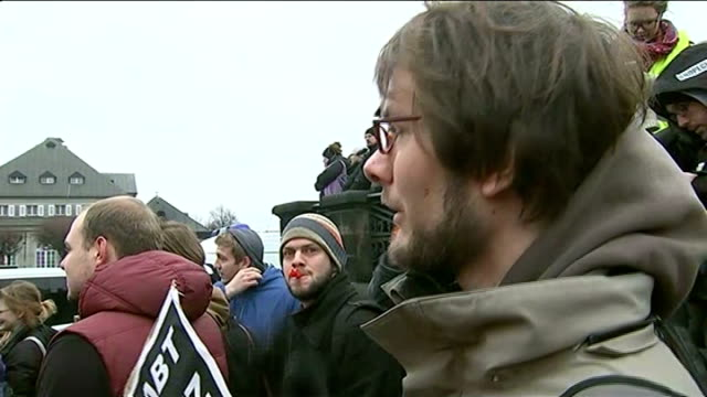 thousands attend anti-islamisation pegida rally in dresden; germany: dresden: ext vox pop - saxony stock videos & royalty-free footage