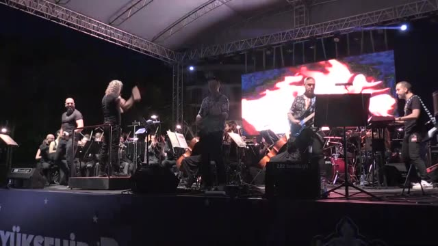 thousands attended a concert on saturday by senforock a turkish rock band performing symphonic interpretations of local and foreign songs the concert... - other stock videos and b-roll footage