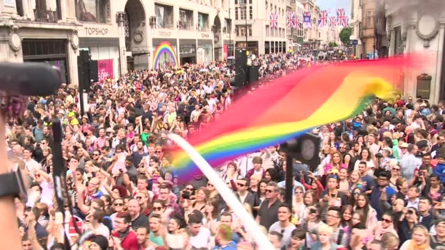 thousands celebrate london pride parade england london pride parade ext various of marchers and spectators at pride parade/ bus along in parade with... - jennifer saunders stock videos & royalty-free footage