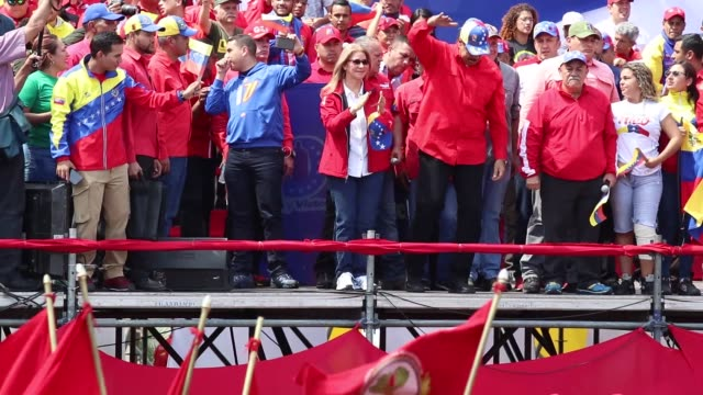 Thousands gather for the rally of United Socialist Party of Venezuela in support of President of Venezuela Nicolas Maduro in Caracas Venezuela on...