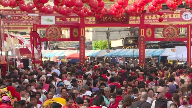 thousands gather in bangkok china town to celebrate chinese new year amid fear of a sars like virus affecting already five people in thailand - sudden acute respiratory syndrome stock videos & royalty-free footage