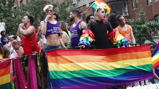 thousands gathered for the 49th annual new york city lgbt pride march in manhattan on sunday june 24 2018 via the west village and 5th avenue... - pride stock videos & royalty-free footage