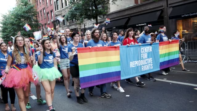 Thousands gathered for the 49th annual New York City LGBT Pride March in Manhattan on Sunday June 24 2018 via the West Village and 5th Avenue...