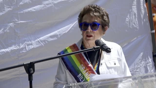 thousands gathered for the 49th annual new york city lgbt pride march in manhattan on sunday june 24, 2018 via the west village and 5th avenue.... - ビリー・ジーン・キング点の映像素材/bロール