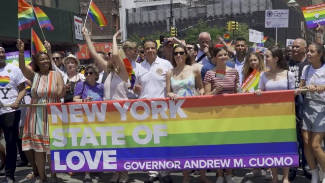 thousands gathered for the 49th annual new york city lgbt pride march in manhattan on sunday june 24 2018 via the west village and 5th avenue... - andrew cuomo stock videos and b-roll footage