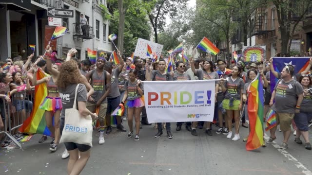 thousands gathered for the 49th annual new york city lgbt pride march in manhattan on sunday june 24 2018 via the west village and 5th avenue... - gay pride stock videos & royalty-free footage