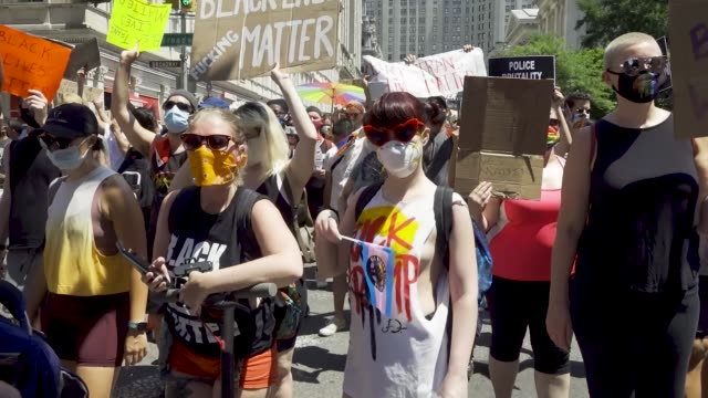thousands gathered for the 'queer liberation march for black lives and against police brutality' in manhattan new york city the march began at foley... - social justice concept stock videos & royalty-free footage