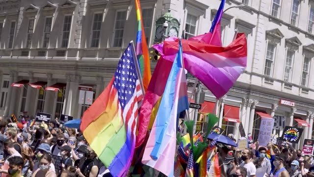 thousands gathered for the 'queer liberation march for black lives and against police brutality' in manhattan, new york city. the march began at... - pride stock videos & royalty-free footage