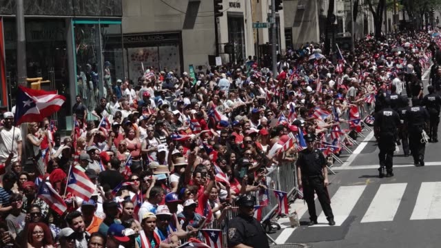 thousands gathered on 5th avenue for the 60th annual puerto rican day parade in manhattan, new york city, usa. - puerto rican ethnicity stock videos & royalty-free footage