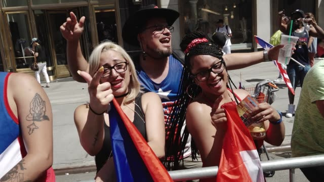 Thousands gathered on 5th Avenue for the 60th Annual Puerto Rican Day Parade in Manhattan New York City USA
