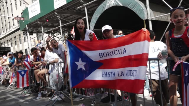 thousands gathered on 5th avenue for the 60th annual puerto rican day parade in manhattan new york city usa - puerto rican ethnicity stock videos & royalty-free footage