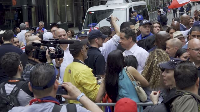 thousands gathered on 5th avenue for the 61th annual puerto rican day parade in manhattan new york city usa #prparade - andrew cuomo stock videos and b-roll footage