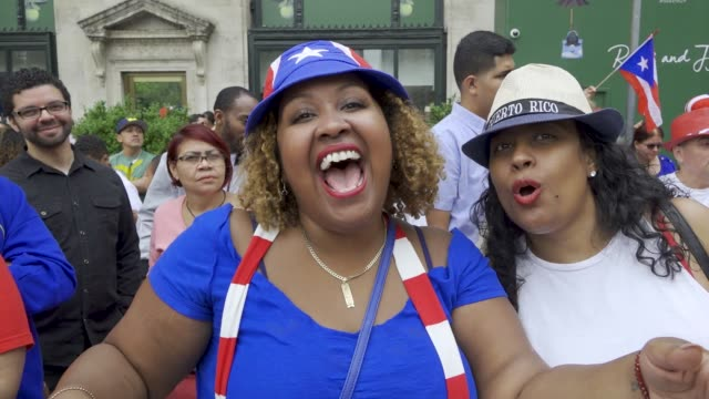 thousands gathered on 5th avenue for the 61th annual puerto rican day parade in manhattan, new york city, usa #prparade . . - puerto rican ethnicity stock videos & royalty-free footage
