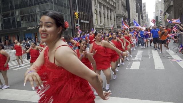 thousands gathered on 5th avenue for the 61th annual puerto rican day parade in manhattan new york city usa #prparade - puerto rican ethnicity stock videos & royalty-free footage