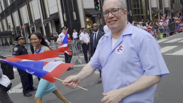 thousands gathered on 5th avenue for the 61th annual puerto rican day parade in manhattan new york city usa #prparade - governmental occupation stock videos & royalty-free footage