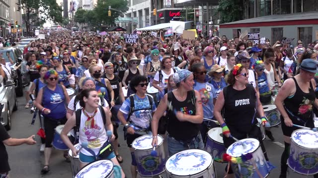 thousands march behind the fogo azul drummers during the 29th annual dyke march celebrating lgbtq pride on june 26 in new york city. the march, the... - azul stock videos & royalty-free footage