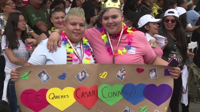 thousands march down the main streets of mexico city demanding equal rights for the members of the lgbtqi community while people in santiago take... - retrovirus stock videos and b-roll footage