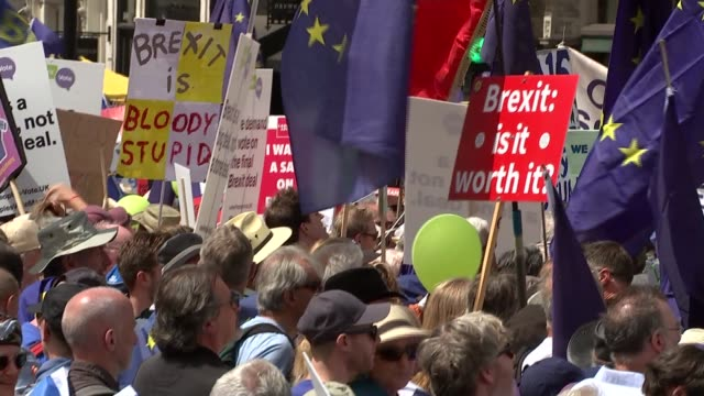 vídeos de stock, filmes e b-roll de thousands march in london to demand referendum on brexit deal uk london protesters at antibrexit pro europe march / vince cable mp speech / probrexit... - brexit