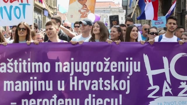 Thousands of anti abortion protesters take to the streets in the captial of Croatia a largely Catholic country where activists say reproductive...