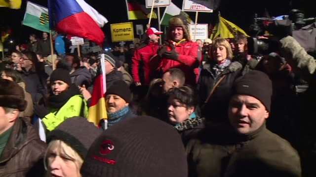 thousands of anti islamic protesters march in germany claiming the jihadist attacks in france vindicates their stance hours after chancellor angela... - assertiveness stock videos & royalty-free footage