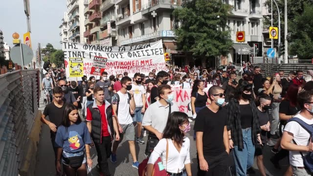 thousands of antifa and antigolden dawn demonstrators including university students schools labor unions leftists antifa groups and many other... - thessalonika stock videos & royalty-free footage