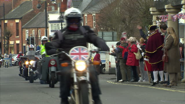 thousands of bikers rode through wootton bassett today. their goal is to raise funds for the afghan heroes charity which was set up by mothers of... - robin day stock videos & royalty-free footage