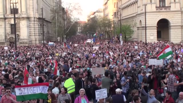 Thousands of demonstrators gather in front of the Parliament building at Kossuth square during an antigovernment rally to protest Hungarian election...