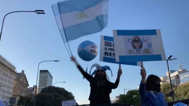 aires argentina aug 17 2020 thousands of demonstrators in buenos aires took part in a protest on monday aug 17 against the national government's... - argentina stock videos & royalty-free footage