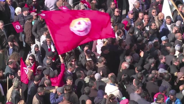 thousands of demonstrators take to the streets in sfax the second largest city in tunisia as a public sector strike brought the country to a... - trade union stock videos & royalty-free footage
