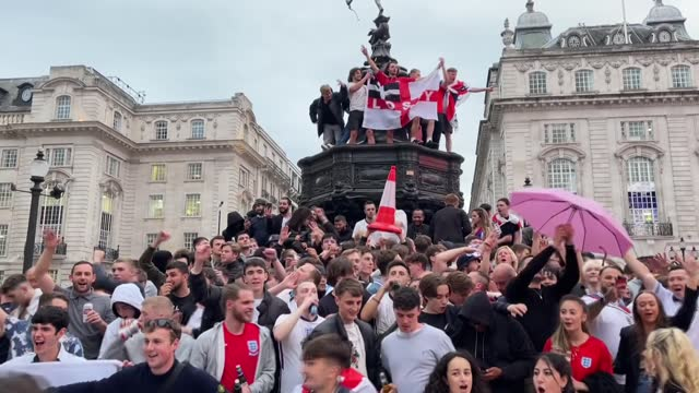 thousands of england fans filled streets and squares of london on tuesday to celebrate rare victory over germany in euro 2020's round of 16. england... - england stock videos & royalty-free footage