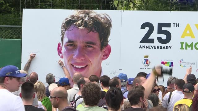 Thousands of fans gather at the Imola F1 circuit to celebrate the life of Formula One great Ayrton Senna on the 25th anniversary of the Brazilian...