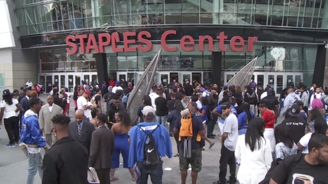 thousands of fans gather at the staples center in los angeles for a memorial service for nipsey hussle - staples centre stock videos & royalty-free footage
