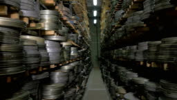Thousands of film reels being stored in film archive.