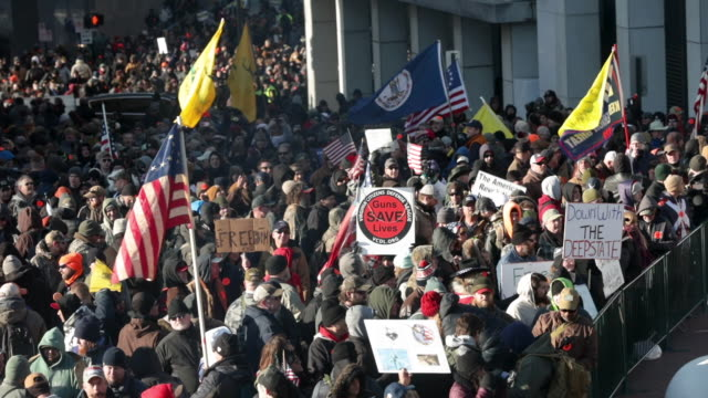 thousands of gun rights advocates attend a rally organized by the virginia citizens defense league near the state capital building january 20, 2020... - virginia us state stock videos & royalty-free footage
