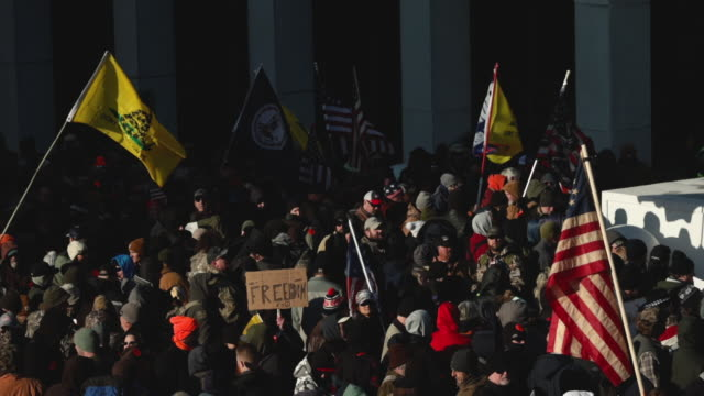 thousands of gun rights advocates attend a rally organized by the virginia citizens defense league near the state capital building january 20 2020 in... - virginia us state stock videos & royalty-free footage