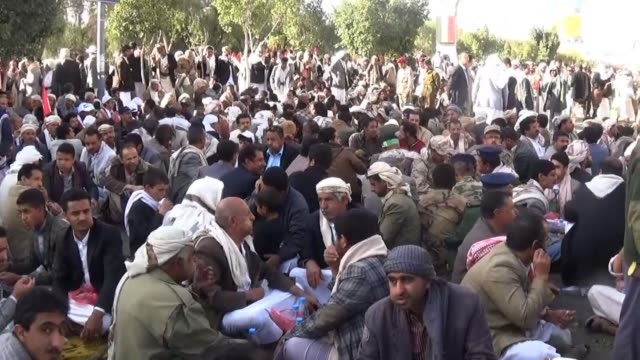 thousands of houthis supporters took the streets of sanaa to commemorate the 4th anniversary of the anti regime uprising that ousted president saleh... - yemen stock videos & royalty-free footage