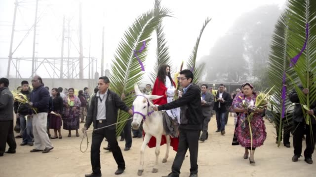 thousands of indigenous guatemalans marked palm sunday in a colorful procession along the streets of san pedro to recall jesus entry into the holy... - holy week stock videos & royalty-free footage