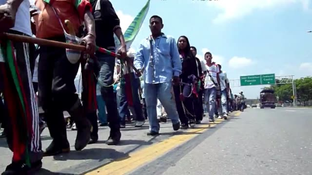 thousands of indigenous people marched along the panamerican highway in cali to participate in the first national congress of lands territory and... - pan american highway stock videos & royalty-free footage