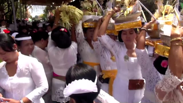 thousands of indonesian hindus gather to hold a religious ceremony for soul purification of their ancestors' in bali island jakarta indonesia on 29... - indonesia street stock videos & royalty-free footage