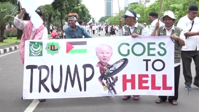 Thousands of Indonesian Muslims protest in Jakarta against US President Donald Trump's recognition of Jerusalem as the capital of Israel in the...