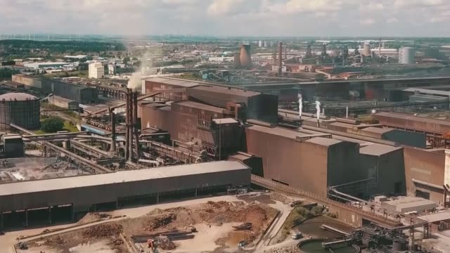 thousands of jobs at risk as british steel collapses; england: lincolnshire: scunthorpe: ext drone footage steel works - lincolnshire stock videos & royalty-free footage